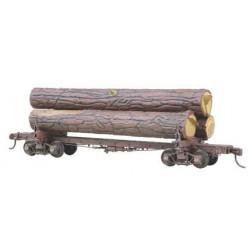 H0 čtyřnápravový oplenový vůz s páteřovým rámem, stavebnice, včetně nákladu kmenů