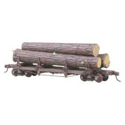 H0 čtyřnápravový oplenový vůz se vzpínadlem a čtyřmi opleny, stavebnice, včetně nákladu kmenů