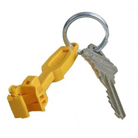 Přívěsek ke klíčům ve tvaru samočinného spřáhla (hnědý, červený, nebo žlutý)