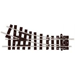 Výhybka pravá, úhel odbočení 22.5°, poloměr 228 mm, délka přímé 87 mm, izolovaná srdcovka, velikost H0e