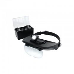 Zvětšovací pracovní brýle s vyměnitelnými čočkami a s bateriovým bodovým osvětlením