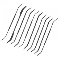 Rytecké pilníky oboustranné, délka cca 140 mm, sada 10 ks různého tvaru