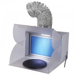 Stříkací pracoviště - přenosné, skládací, s odsávacím ventilátorem, pracovní točnou a LED osvětlením