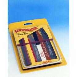 Sada Flex-set - obsahuje všech pět pilníků Flex-pad a rámové brousítko Flex-i-file s 8 brusnými páskami