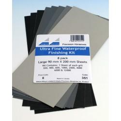 Sada jemných brusných papírů (8 listů formátu 90 x 200 mm, hrubosti od 320 do 12000)