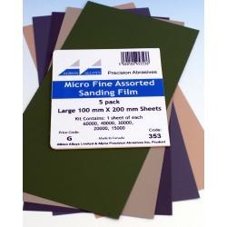Sada nejjemnějších mikro brusných papírů (5 listů formátu 100 x 100 mm, hrubosti od 15000 do 60000)