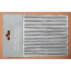 Sada 12 malých jehlových pilníků, jmenovitý rozměr 2 mm, délka 100 mm (i s rukojetí), různé tvary (v měkké plastové kapse)