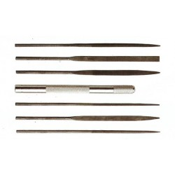 Sada pilníků - obsahuje jednu kleštinovou rukojeť a 6 jehlových pilníků