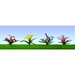 květiny, výška cca 2 cm, čtyři barvy květů, celkem 32 ks