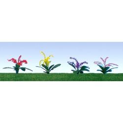 květiny - petůnie, výška cca 2 cm, čtyři barvy květů, celkem 40 ks