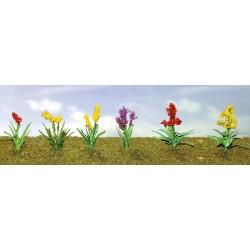květiny vzor 2, výška cca 1.5 cm, čtyři barvy květů, celkem 12 ks