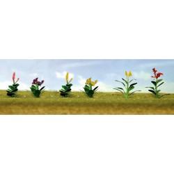 květiny vzor 4, výška cca 1.5 cm, čtyři barvy květů, celkem 12 ks