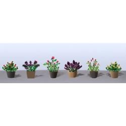 hrnkové květiny vzor 1, výška cca 1.5 cm, 3 druhy květináčů, různé barvy květů, celkem 6 ks