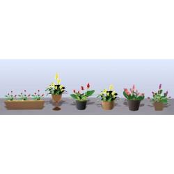 hrnkové květiny vzor 3, výška cca 1.5 cm, 3 druhy květináčů, různé barvy květů, celkem 6 ks