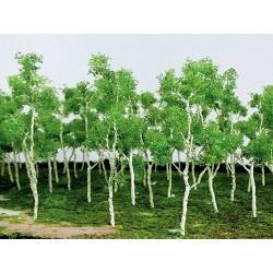 Mladý les - listnaté stromy pastelové zelené, 7-9 cm, 14 ks