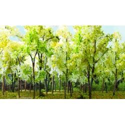 Mladý les - listnaté stromy béžovozelené, 7-9 cm, 9 ks